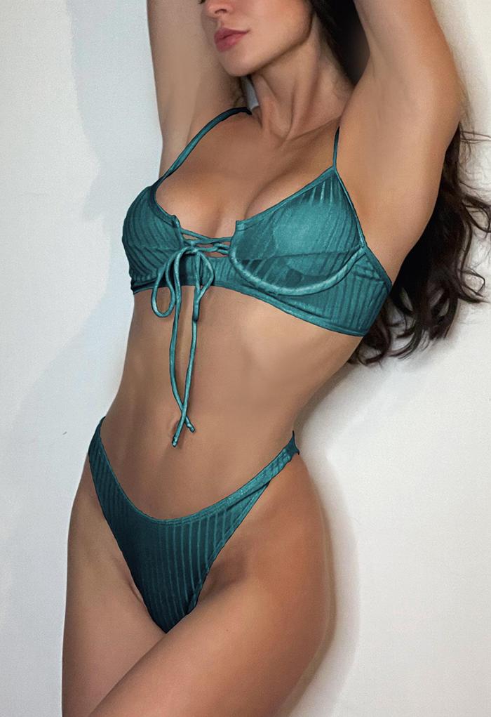 Low-Rise Strapped Bikini Set in Teal