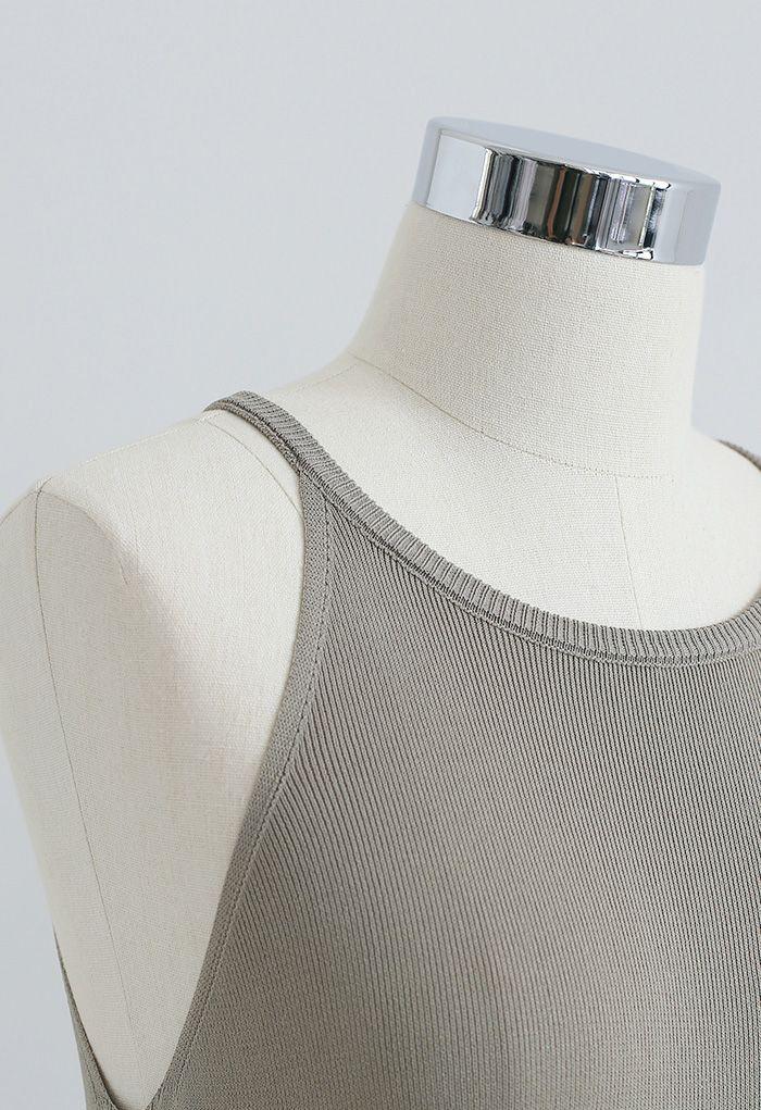 Halter Neck Cami Shift Knit Dress in Sage