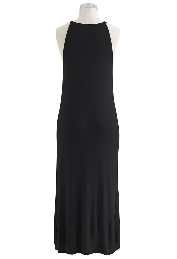 Halter Neck Cami Shift Knit Dress in Black
