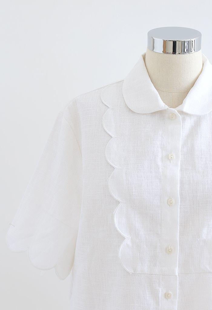 Scallop Embroidered Trimming Linen-Blend Shirt