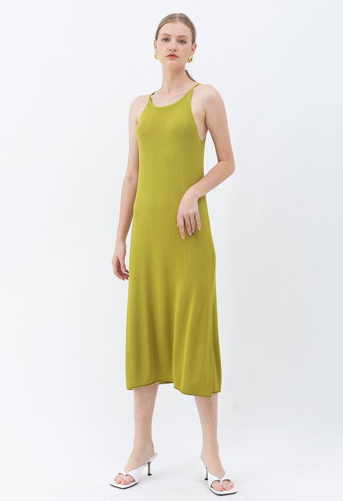 Halter Neck Cami Shift Knit Dress in Ginger