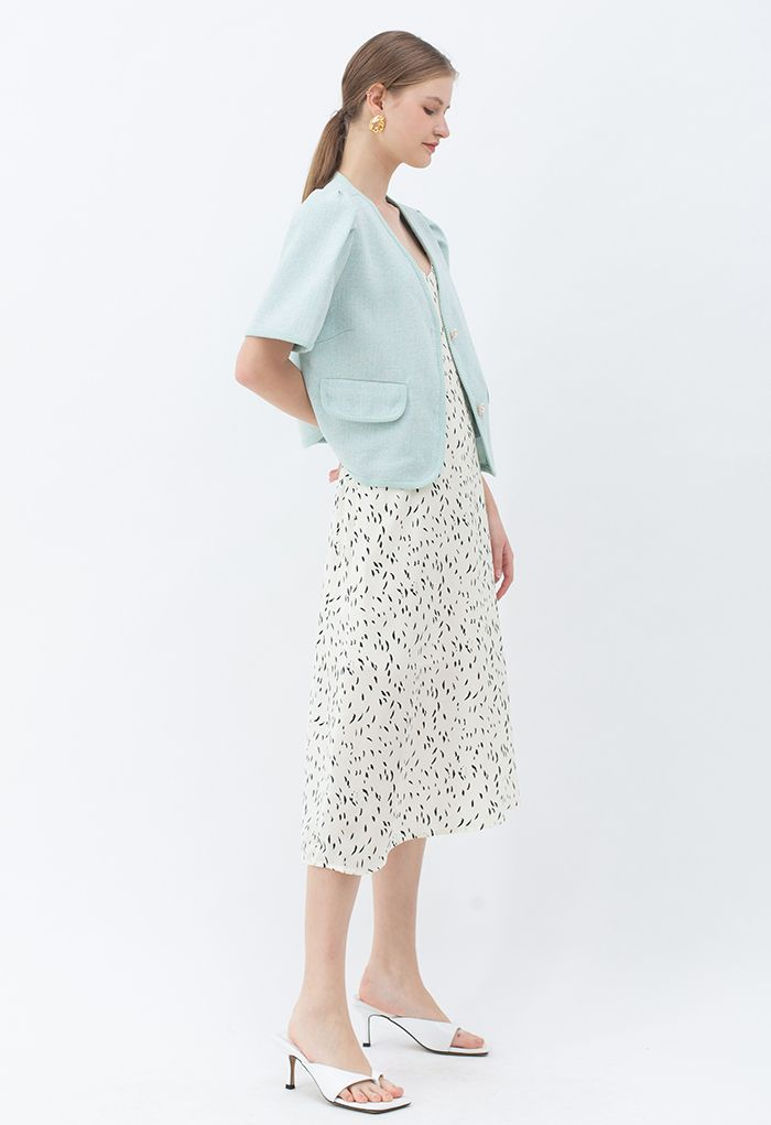 Pearly Button Short Sleeve Tweed Blazer in Mint