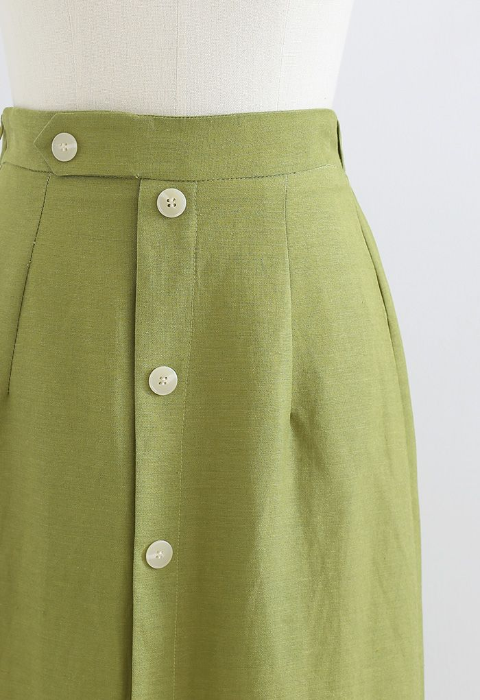 Button Embellished Slit Front Midi Skirt in Moss Green
