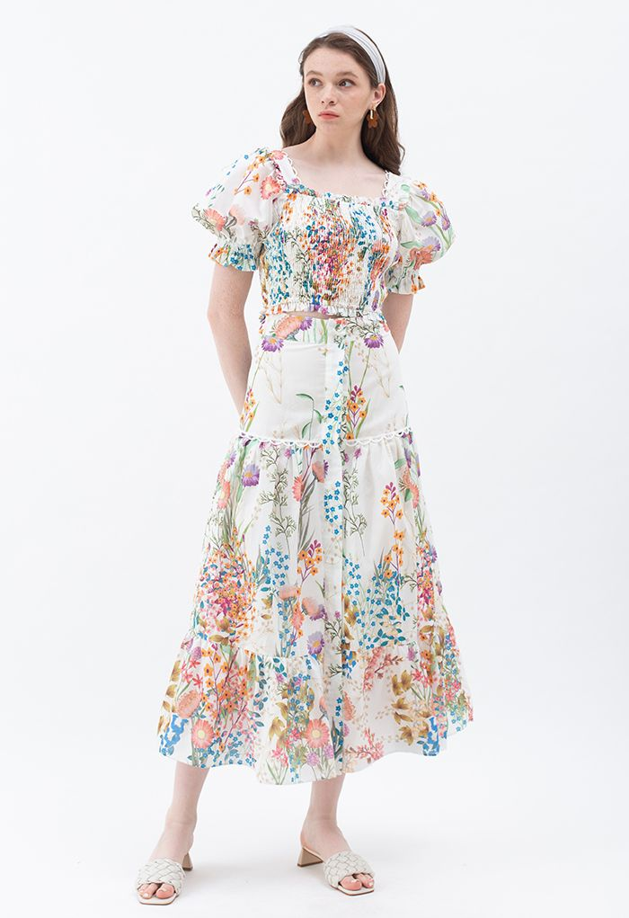 Exuberant Flower Land Printed Top and Buttoned Maxi Skirt Set