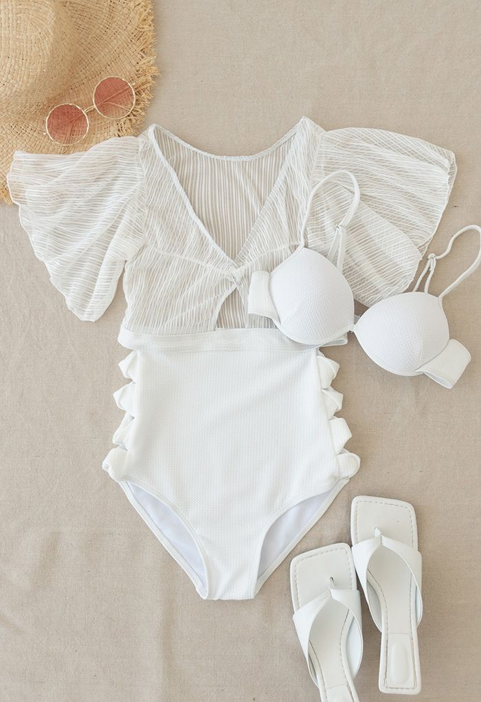 Detachable Bra and Lacy Swimsuit Set in White