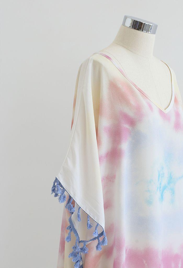 V-Neck Tie Dye Tassel Coverup