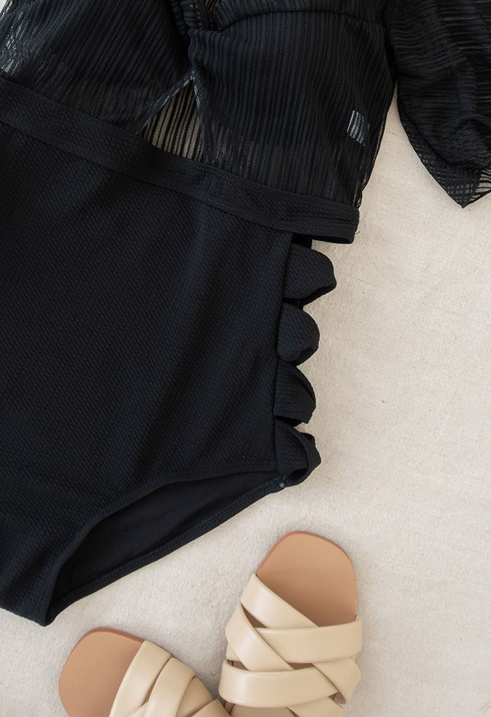 Detachable Bra and Lacy Swimsuit Set in Black