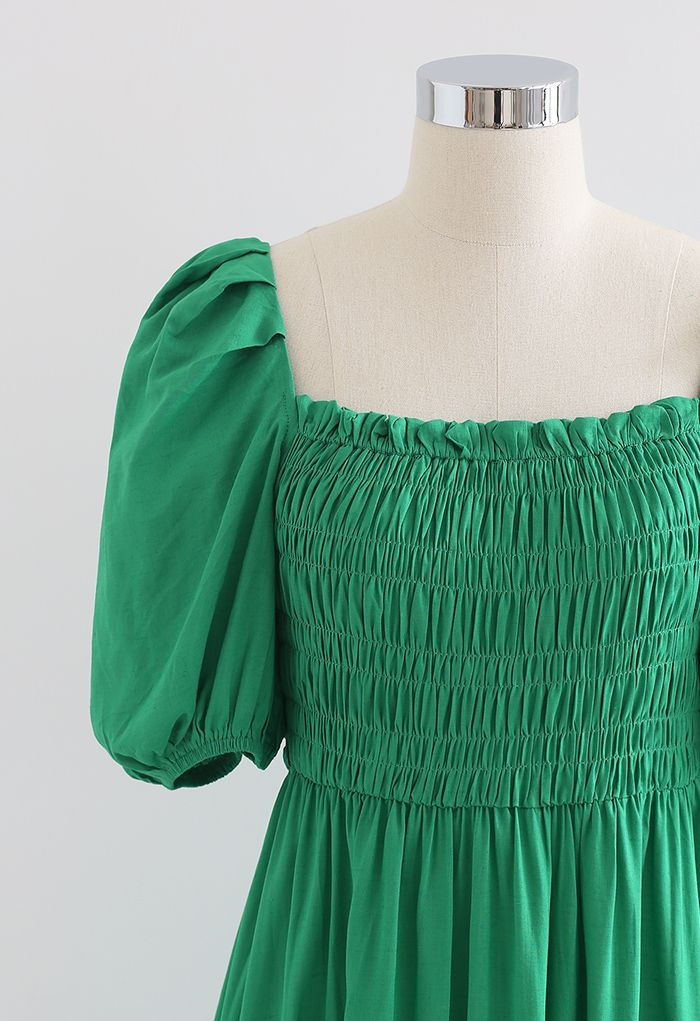 Square Neck Puff Sleeve Shirred Dress in Green