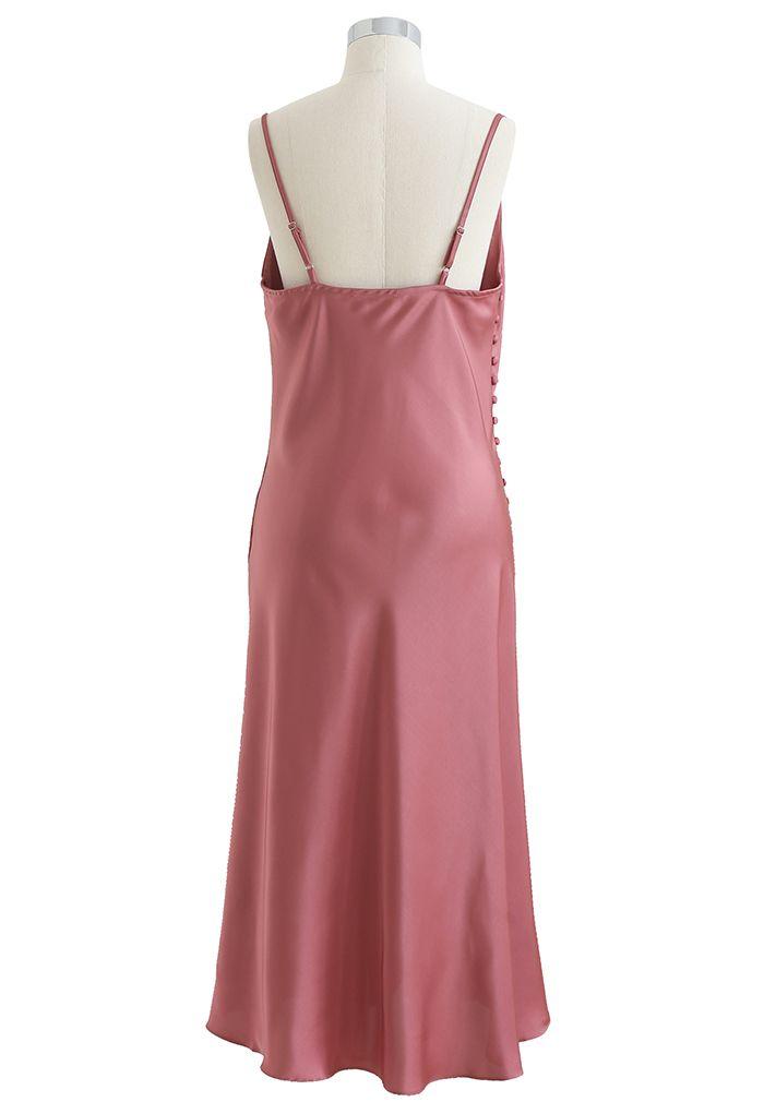 Buttoned Side Split Hem Satin Cami Dress in Coral