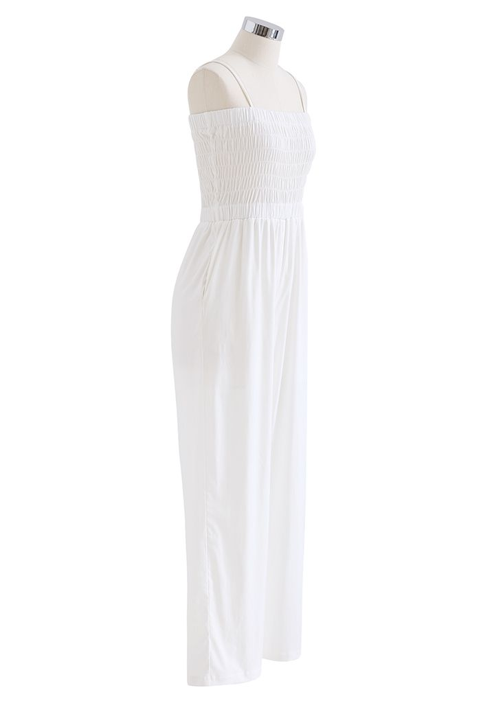 Straight Leg Shirred Cami Jumpsuit in White