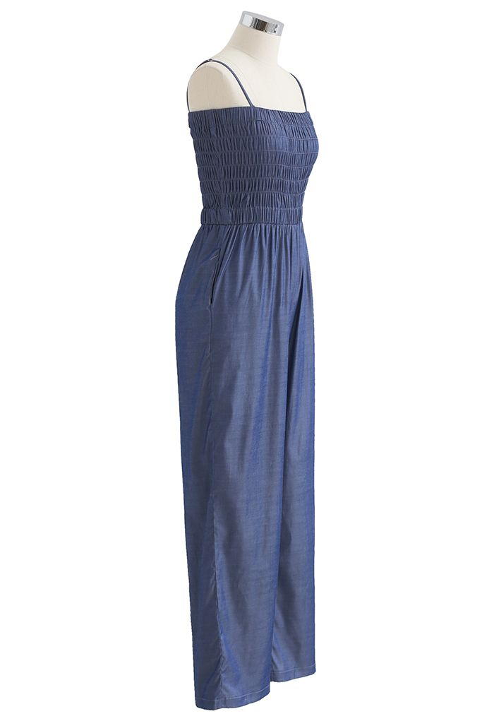 Straight Leg Shirred Cami Jumpsuit in Navy