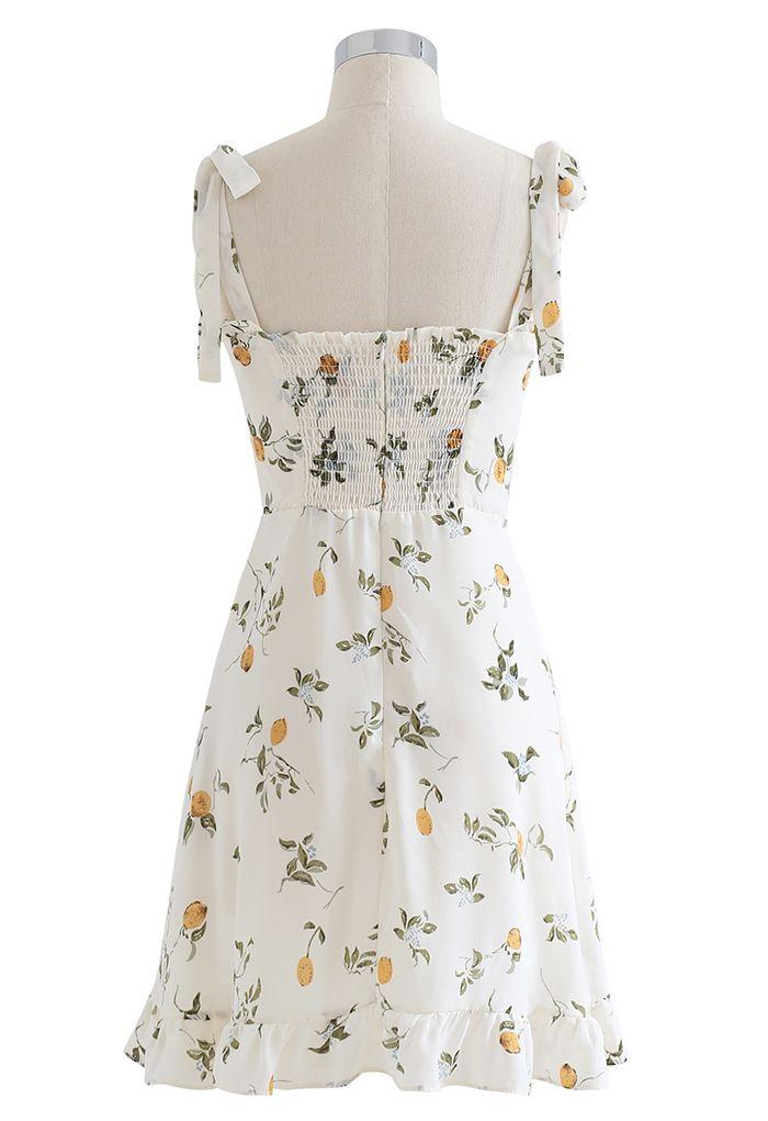 Cutie Lemon Branch Printed Tie-Strap Mini Dress