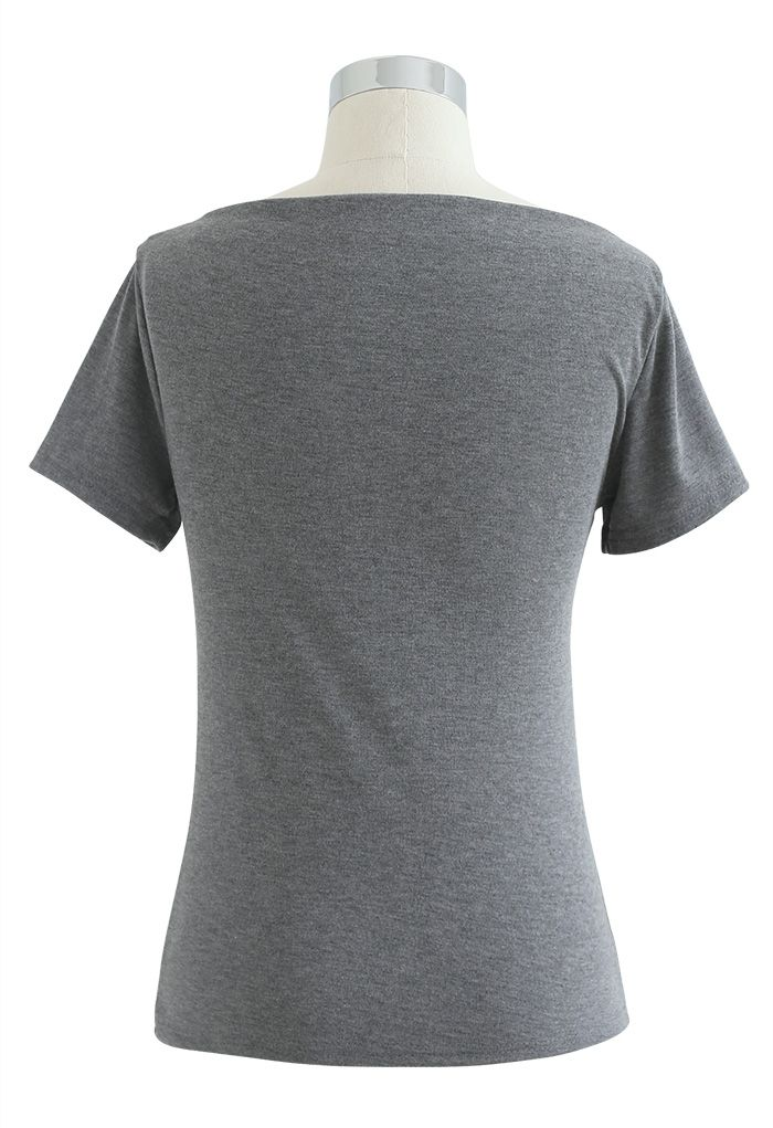 Ruched Front T-Shirt in Grey