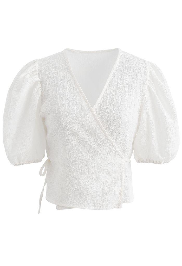 Textured Self-Tie Wrap Crop Top White