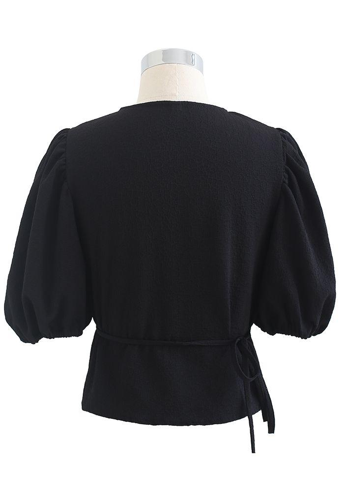 Textured Self-Tie Wrap Crop Top Black