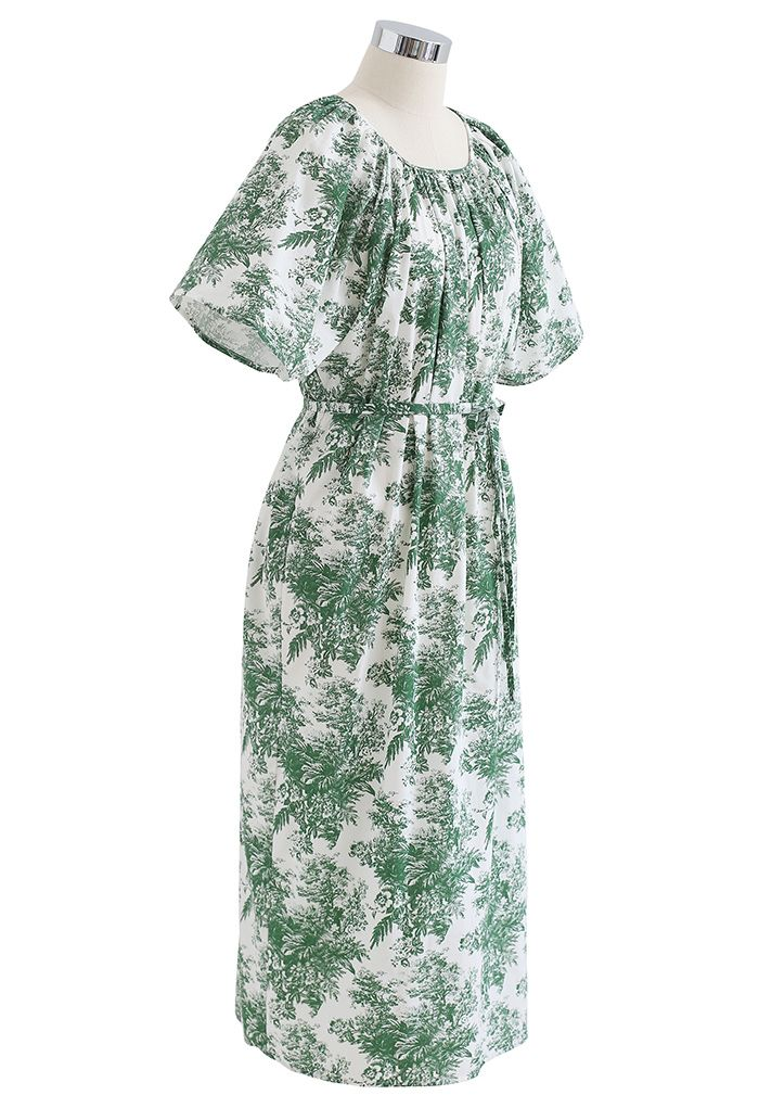 Flare Sleeve Floral Print Dolly Dress in Green