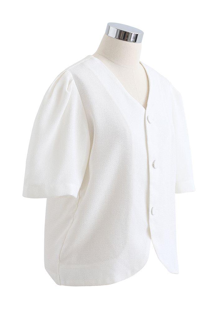 Collarless Button Down Textured Blazer in White