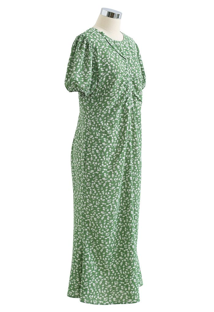 Cutout Detail Floral Print Ruched Midi Dress in Green