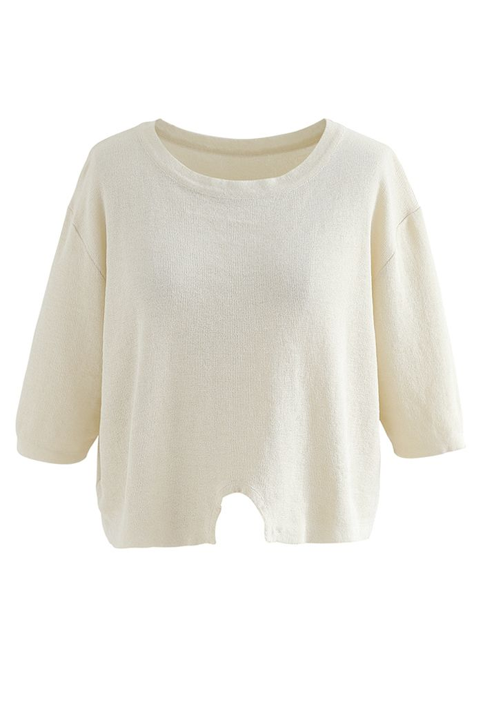 Round Neck Rib Knit Cropped Top in Cream