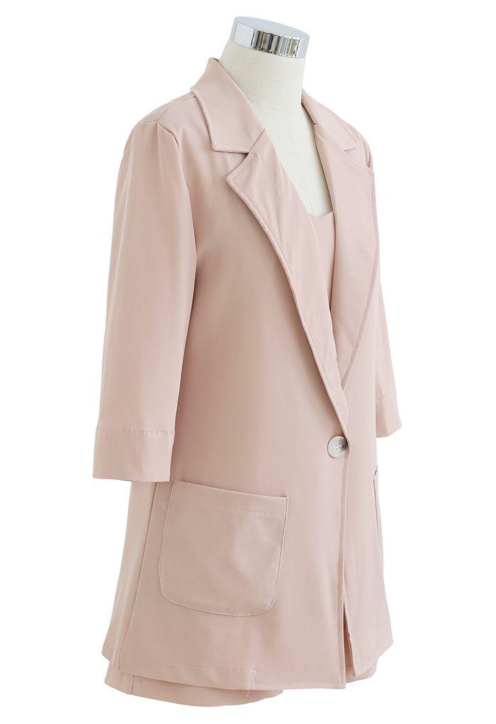Three-Piece Blazer and Shorts Set in Blush Pink