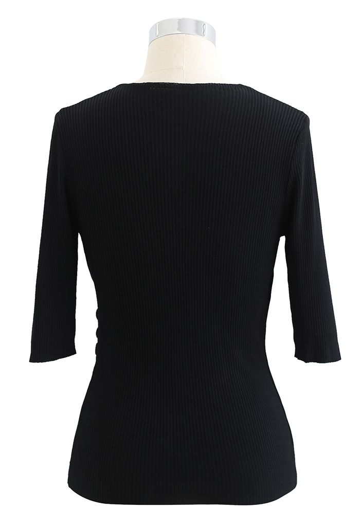 Side Button Wrapped Knit Top in Black