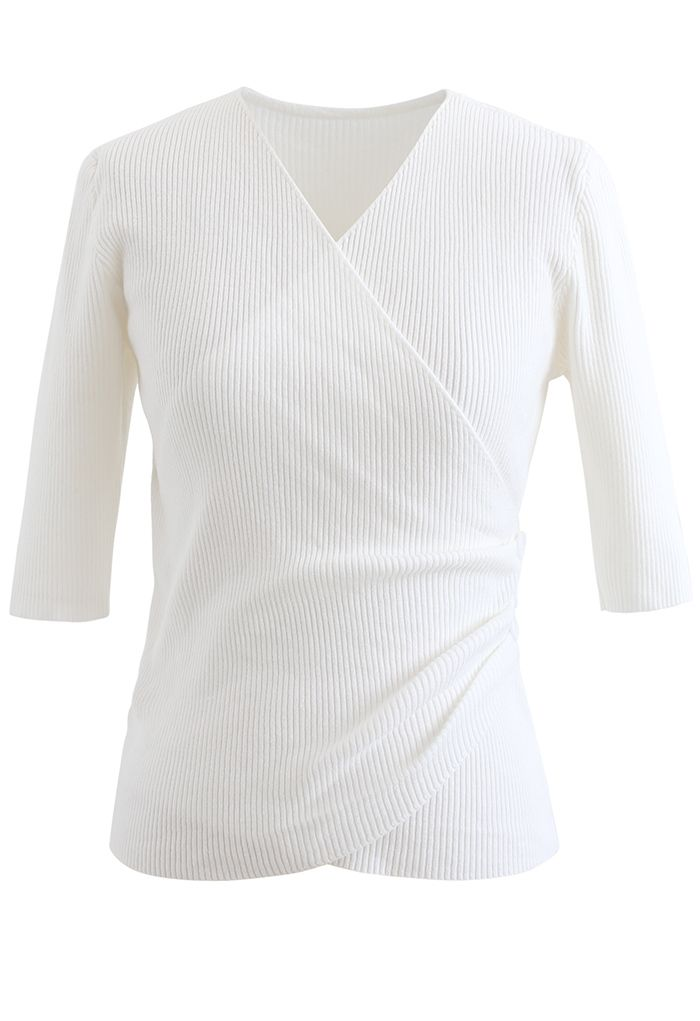 Side Button Wrapped Knit Top in White