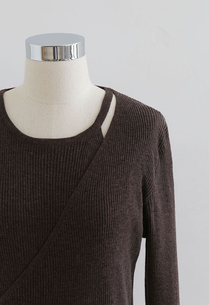 Button Wrapped Knit Top in Brown