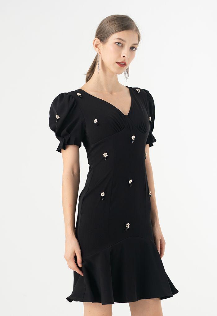 Crystal Embellished Frilling Dress in Black