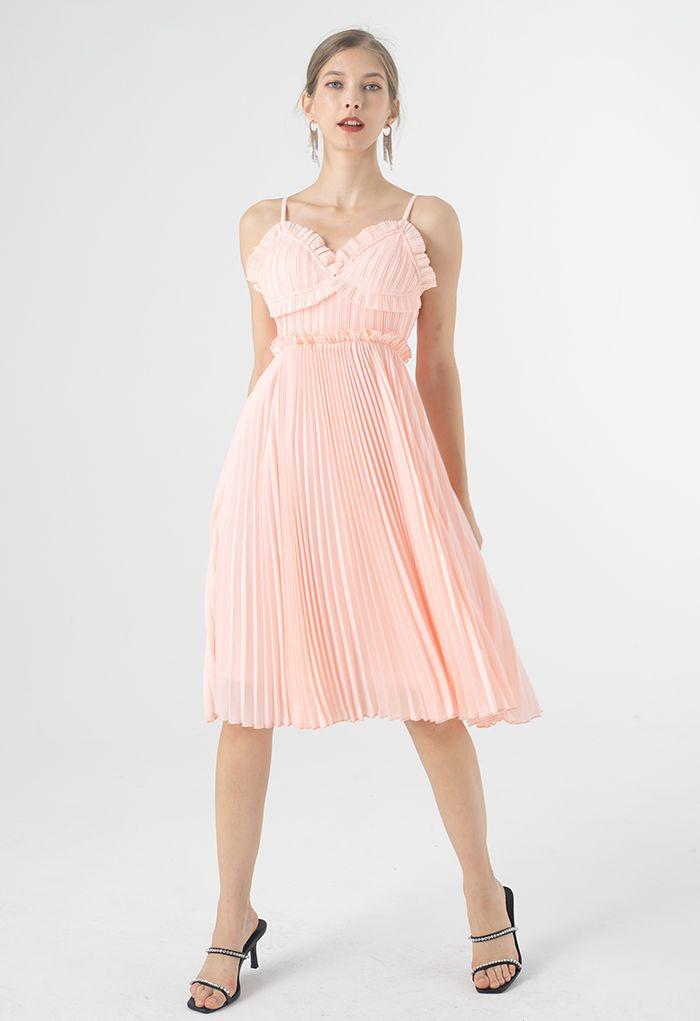 Shell-Shape Bust Pleated Cami Dress