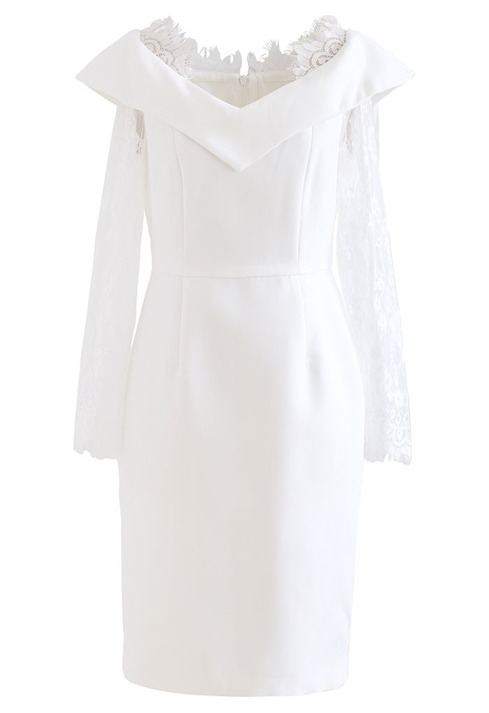 Lace Sleeves Bodycon Midi Dress in White