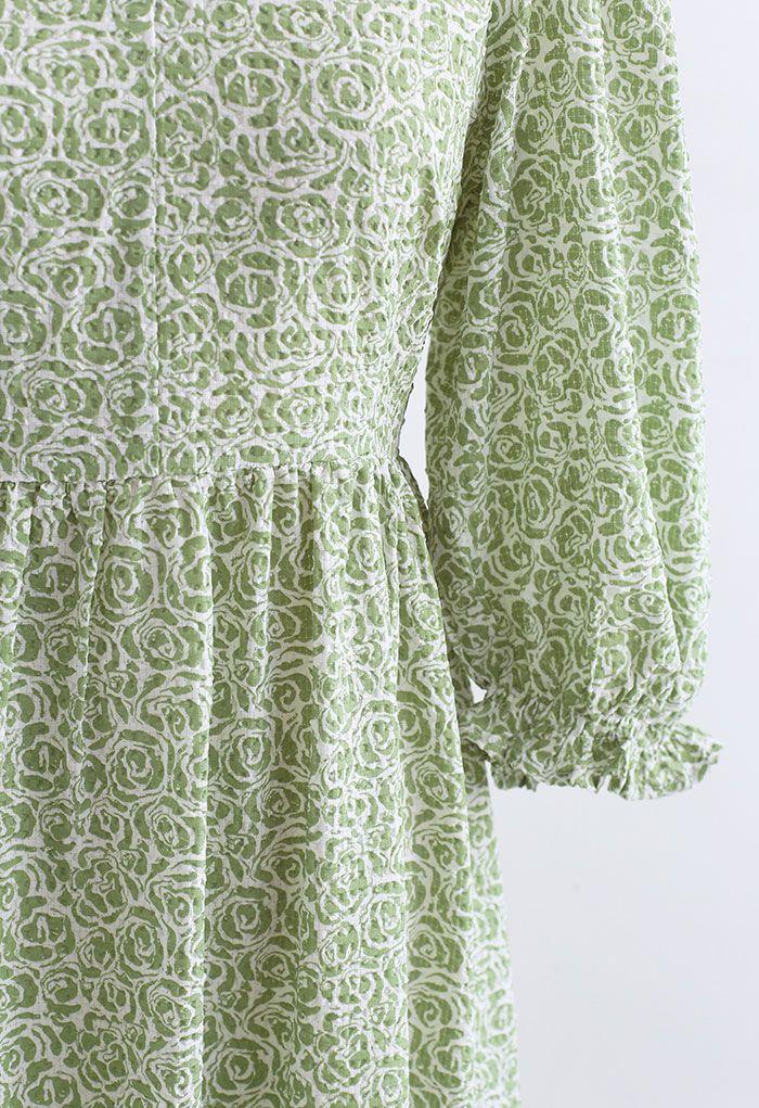 Rose Embossing Frill Hem Midi Dress in Pistachio