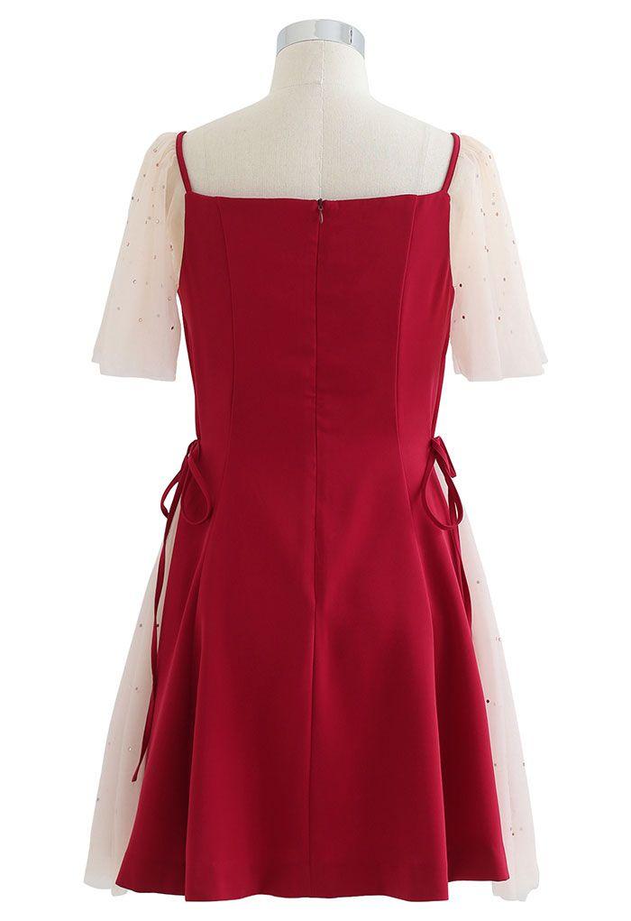 Sequined Mesh Sweetheart Neck Skater Dress in Red