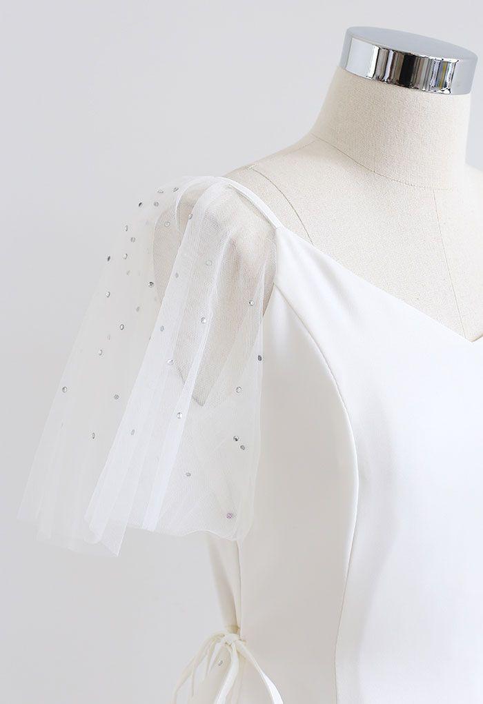 Sequined Mesh Sweetheart Neck Skater Dress in White