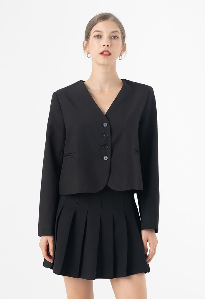 Collarless Pad Shoulder Crop Blazer in Black