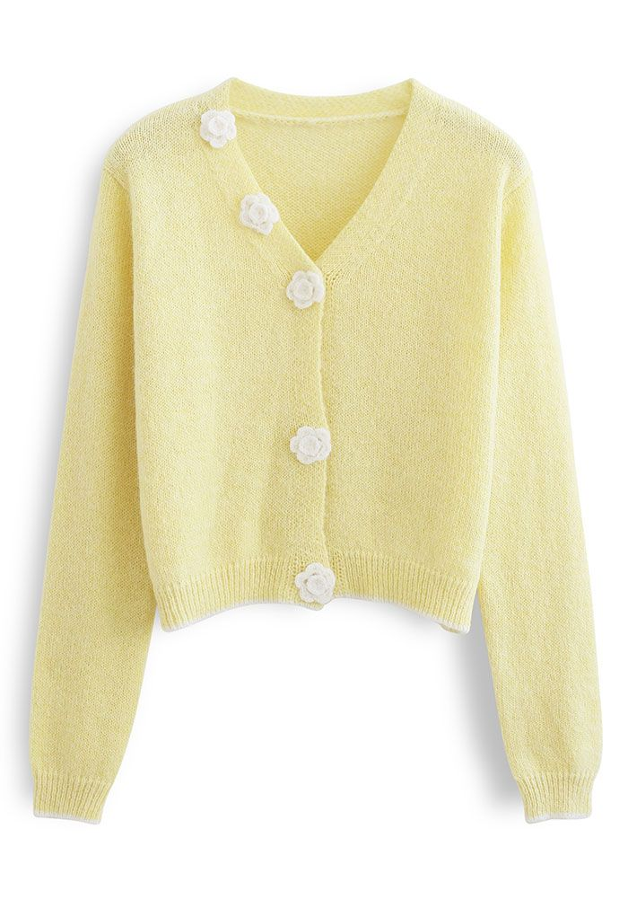 Stitched Flower Knit Cami Top and Cardigan Set in Yellow