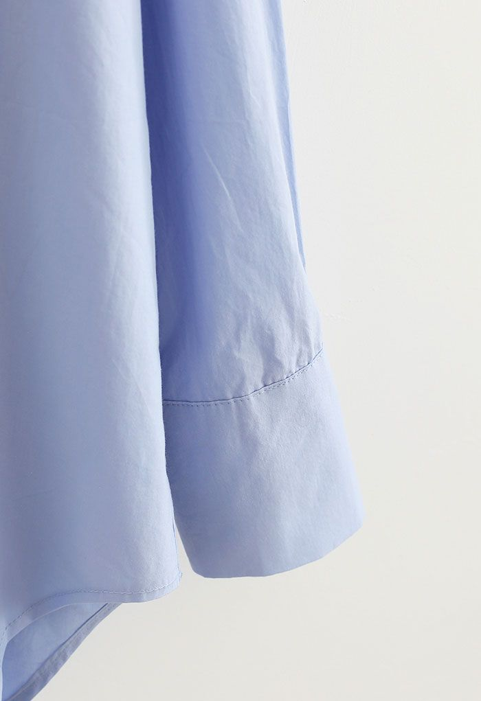 Oversized Button Down Hi-Lo Shirt in Blue