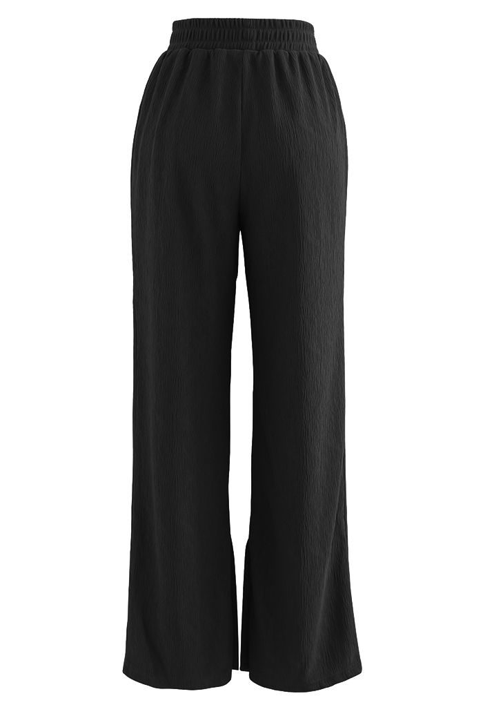 Buttoned Slit Cuffs Straight Leg Pants in Black