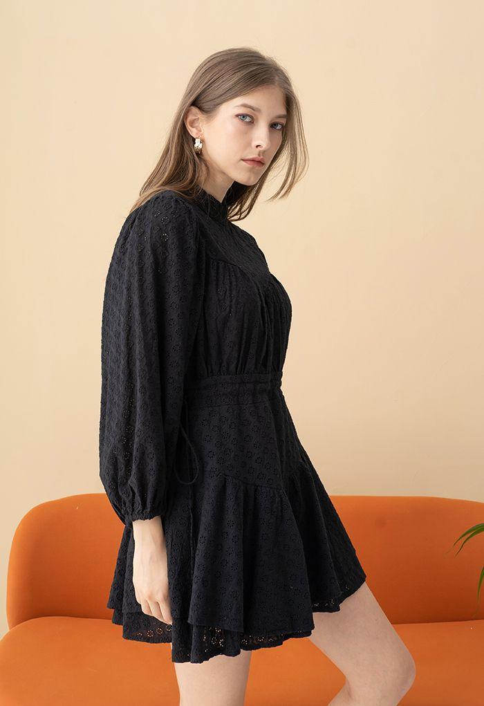 Diamond Embroidered Drawstring Waist Mini Dress in Black