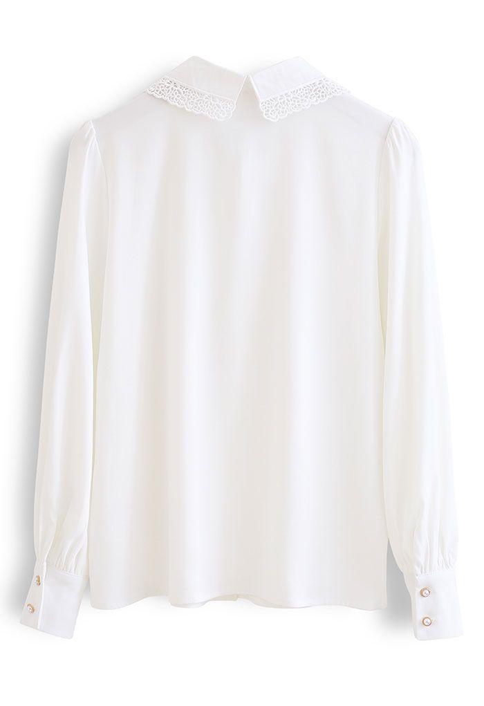 Lacey Collar Button Down Sleek Shirt in White