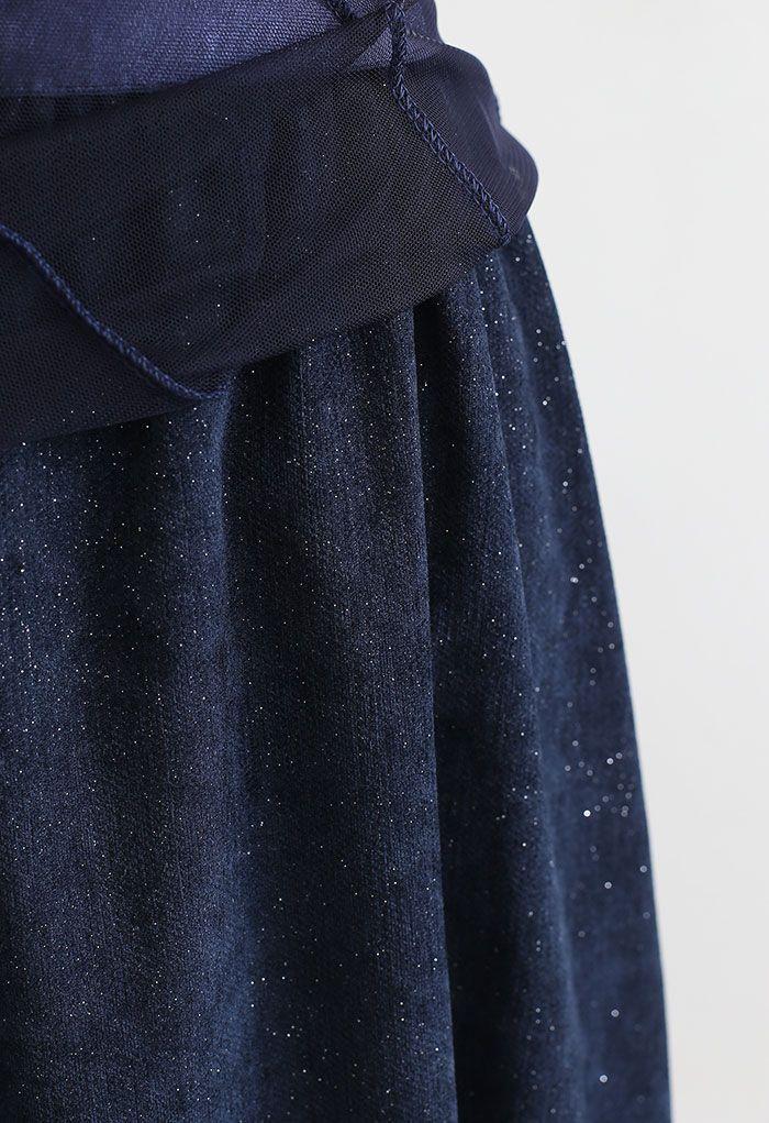 My Secret Garden Tulle Maxi Skirt in Glitter Navy