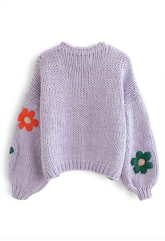 Stitch Flowers Hand-Knit Chunky Cardigan in Lilac