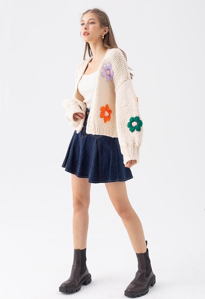Stitch Flowers Hand-Knit Chunky Cardigan in Cream