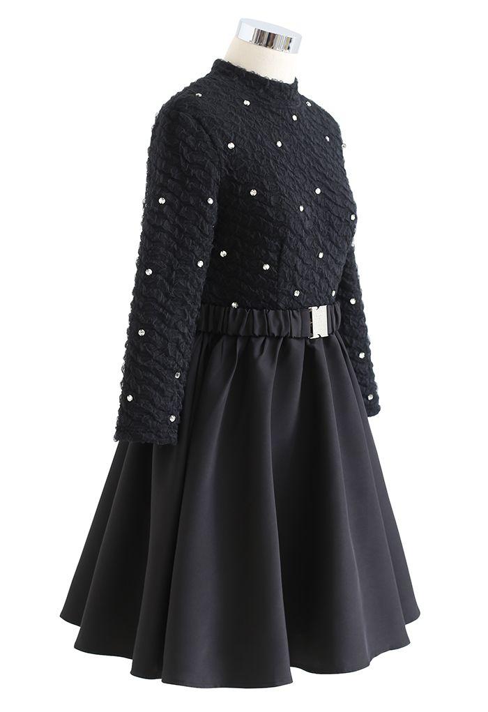 Crystal Decorated Embossed Mesh Mini Dress