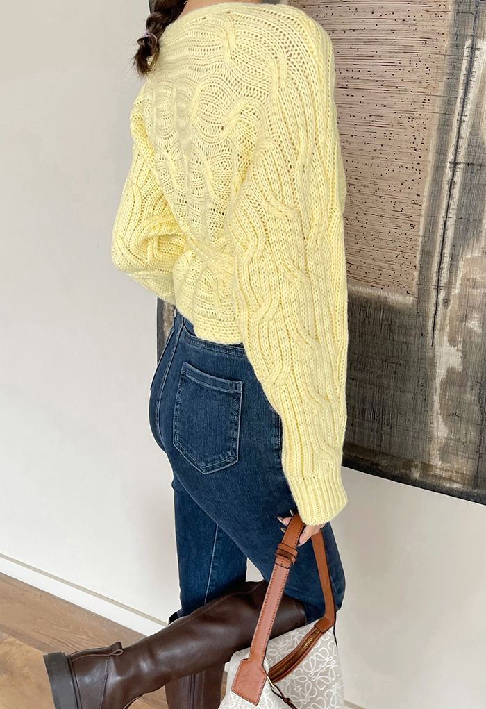 Wrap Front Braid Knit Crop Sweater in Yellow