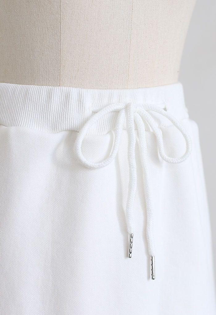 Cotton Drawstring Pocket Mini Skorts in White
