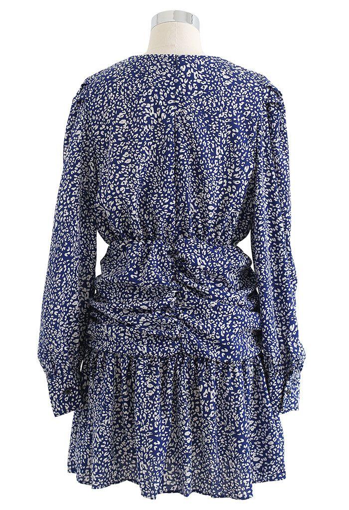 Wild Animal Ruched Frill Hem Mini Dress in Blue
