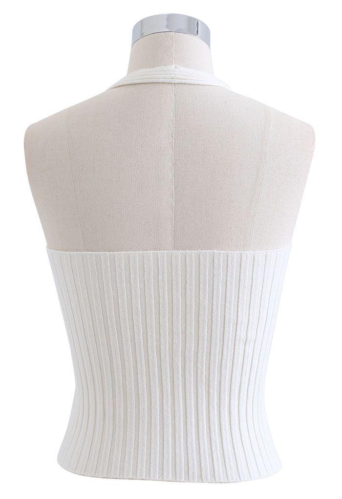 Halter Neck Crop Knit Top in White