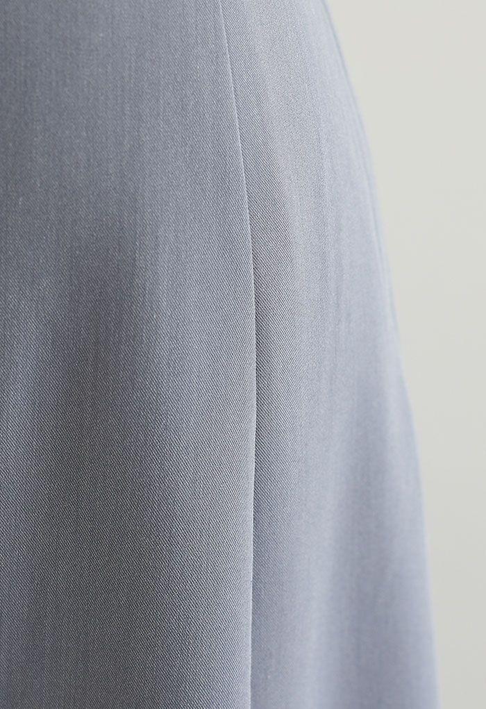 Golden Button Trim Front Slit Midi Skirt in Grey