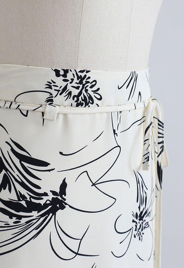 Flower Sketch Printed Self-Tie Midi Skirt in Cream
