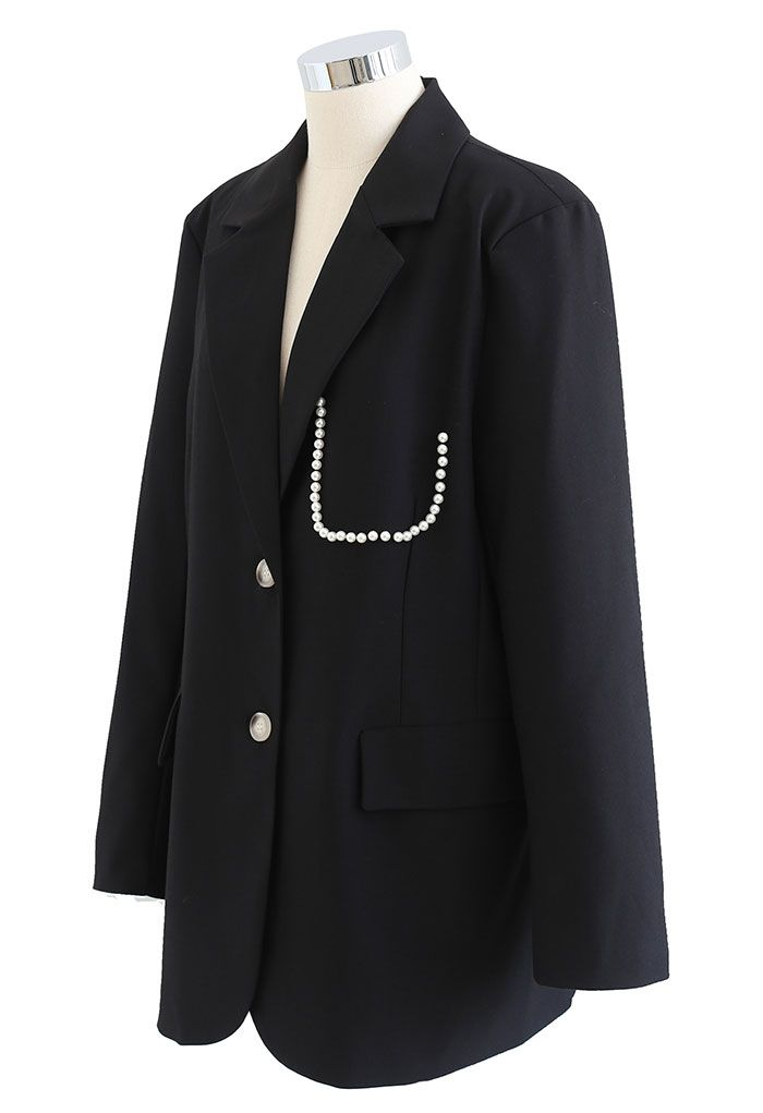 Pearly Pocket Pad Shoulder Blazer in Black